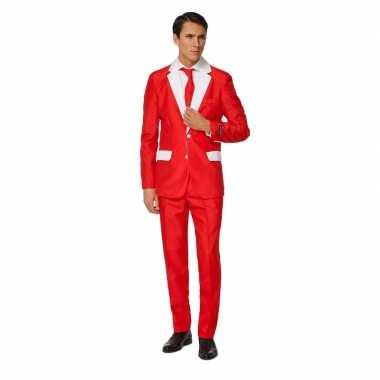Net heren kostuum kerstman kostuum print carnaval