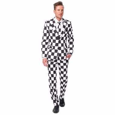 Net heren kostuum zwart wit geblokt print carnaval