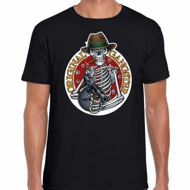 Original gangster skelet halloween verkleed t kostuum zwart heren carnaval
