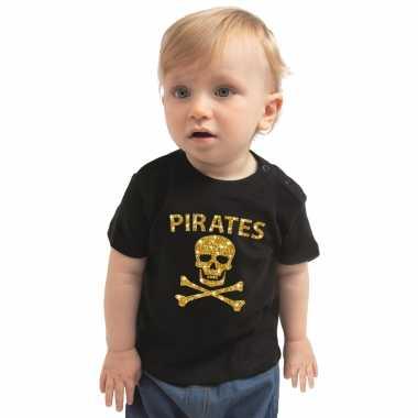 Piraten kostuum goud glitter zwart babys carnaval
