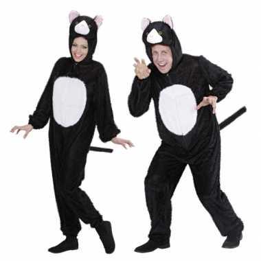 Pluche dieren kattenkostuum onesie zwart wit kat carnaval
