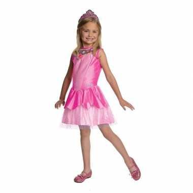 Prinses kostuum jurkje roze tiara meisjes carnaval