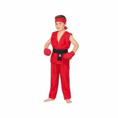Rood kung fu kostuum kinderen carnaval