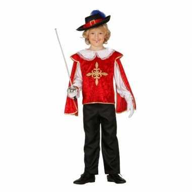 Rood musketierskostuum jongens carnaval