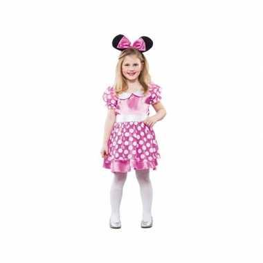 Roze gestippelde muis kostuum jurk carnaval