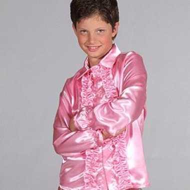 Satijnen kostuum roze kinderen carnaval