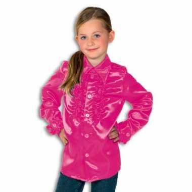 Satijnen kostuum roze Rouches kostuum roze jongens carnaval
