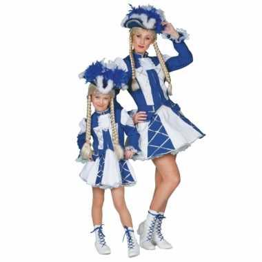 Showdans kostuumje meiden blauw wit carnaval