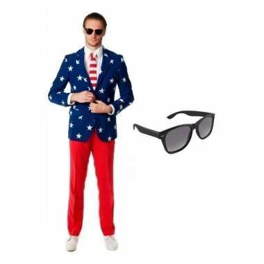 Verkleed amerikaanse vlag print heren kostuum maat (xl) gratis zonne