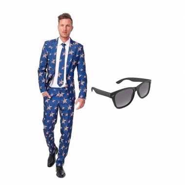 Verkleed amerikaanse vlag print net heren kostuum maat (m) gratis zo