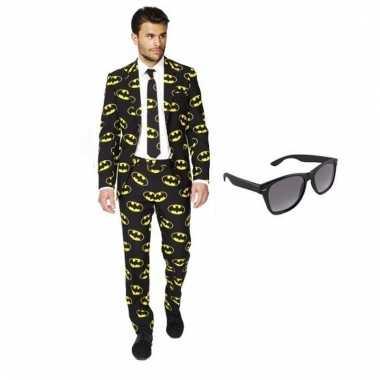 Verkleed batman print heren kostuum maat (s) gratis zonnebril carnav