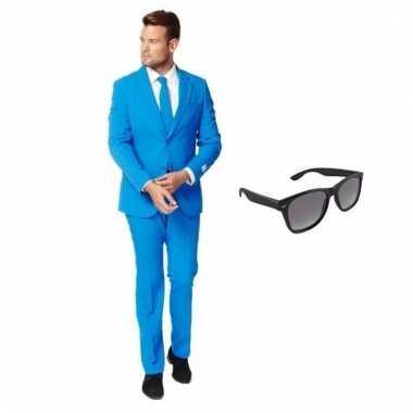 Verkleed blauw net heren kostuum maat (l) gratis zonnebril carnaval