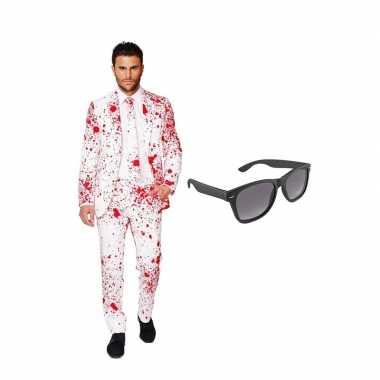 Verkleed bloedvlekken net heren kostuum maat (xxxl) gratis zonnebril