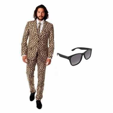 Verkleed bruin luipaard print heren kostuum maat (s) gratis zonnebri
