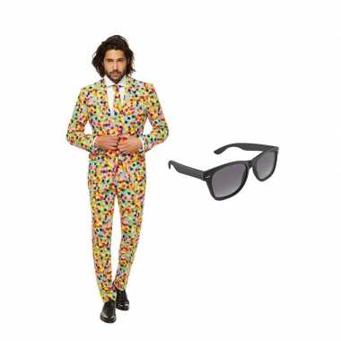 Verkleed confetti print net heren kostuum maat (l) gratis zonnebril
