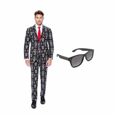 Verkleed day of the dead net heren kostuum maat (m) gratis zonnebril