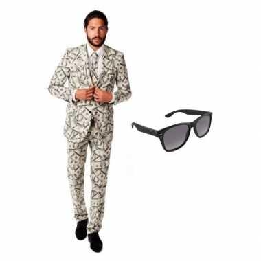 Verkleed dollar print heren kostuum maat xl gratis zonnebril carnaval 10100453