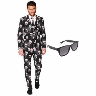 Verkleed doodshoofden print net heren kostuum maat (xxl) gratis zonn