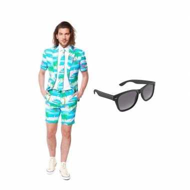 Verkleed flamingo zomer net heren kostuum maat (l) gratis zonnebril