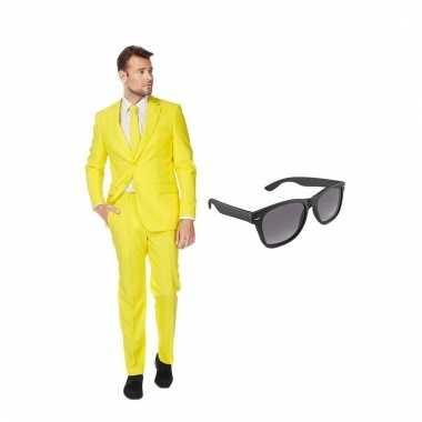 Verkleed geel net heren kostuum maat (s) gratis zonnebril carnaval