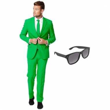 Verkleed groen net heren kostuum maat (xxxl) gratis zonnebril carnav