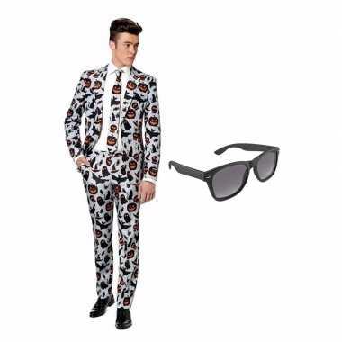 Verkleed halloween print net heren kostuum maat (s) gratis zonnebril