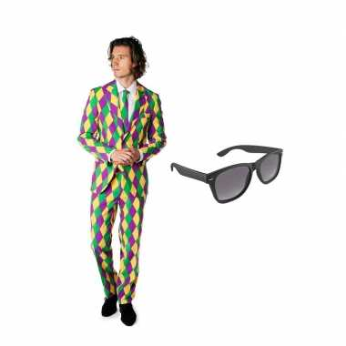 Verkleed harlekijn print net heren kostuum maat (s) gratis zonnebril