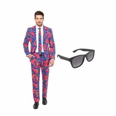 Verkleed jaren print net heren kostuum maat (s) gratis zonnebril car