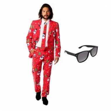 Verkleed kerst print heren kostuum maat xl gratis zonnebril carnaval