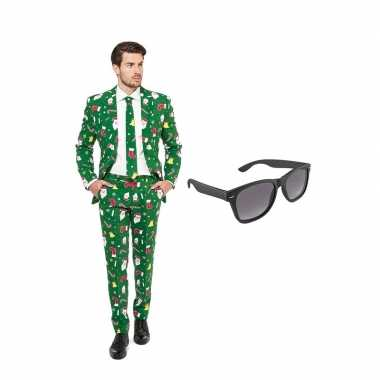 Verkleed kerst print net heren kostuum maat (s) gratis zonnebril car