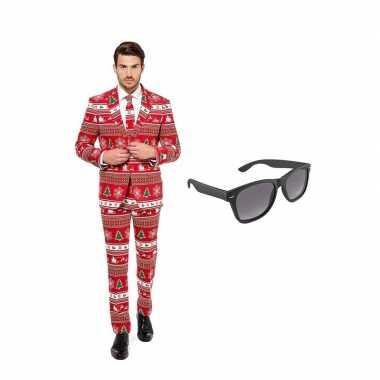 Verkleed kerstboom print net heren kostuum maat (l) gratis zonnebril