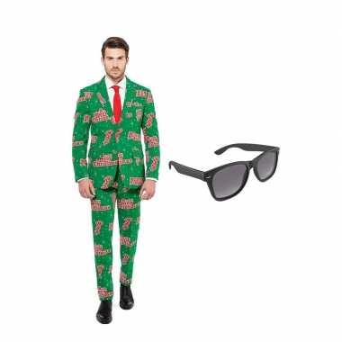 Verkleed merry christmas print net heren kostuum maat (xl) gratis zo