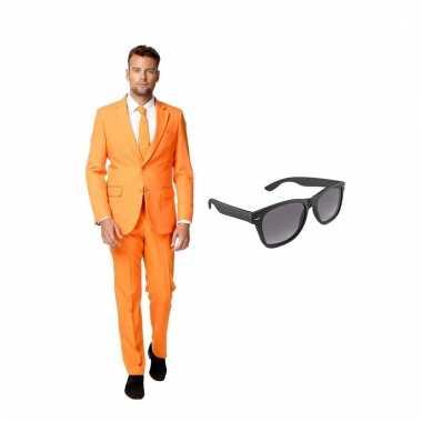 Verkleed oranje net heren kostuum maat (l) gratis zonnebril carnaval