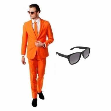 Verkleed oranje net heren kostuum maat (m) gratis zonnebril carnaval