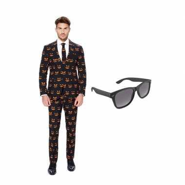 Verkleed pompoen print net heren kostuum maat (xl) gratis zonnebril