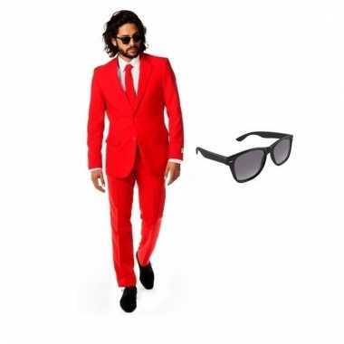 Verkleed rood net heren kostuum maat (m) gratis zonnebril carnaval
