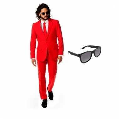 Verkleed rood net heren kostuum maat (xl) gratis zonnebril carnaval