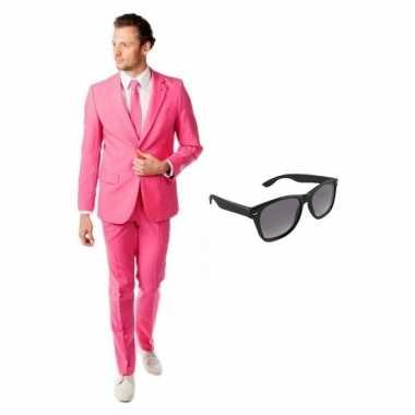 Verkleed roze net heren kostuum maat (m) gratis zonnebril carnaval