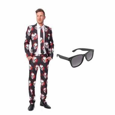 Verkleed schedel print net heren kostuum maat (xl) gratis zonnebril
