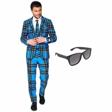Verkleed schotse print net heren kostuum maat (xxxl) gratis zonnebri