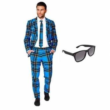 Verkleed schotse ruit print heren kostuum maat (xl) gratis zonnebril