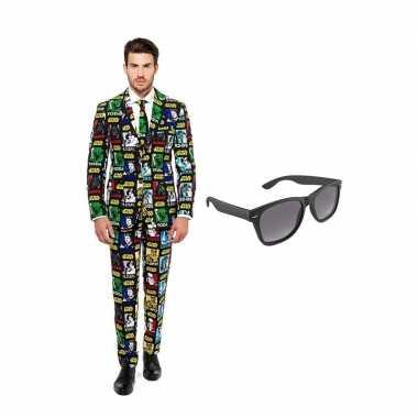 Verkleed star wars print net heren kostuum maat (m) gratis zonnebril
