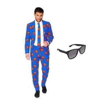 Verkleed superman print heren kostuum maat (l) gratis zonnebril carn