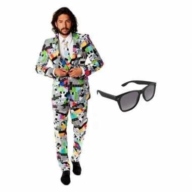 Verkleed televisie print heren kostuum maat (xl) gratis zonnebril ca