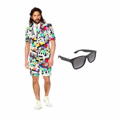 Verkleed testbeeld net heren kostuum maat (s) gratis zonnebril carna