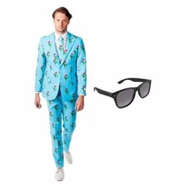 Verkleed tulpen print heren kostuum maat xl gratis zonnebril carnaval 10100477