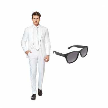 Verkleed wit net heren kostuum maat (l) gratis zonnebril carnaval