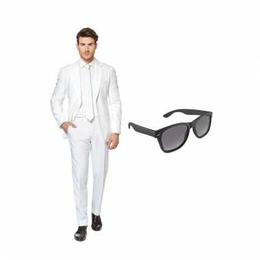 Verkleed wit net heren kostuum maat (m) gratis zonnebril carnaval