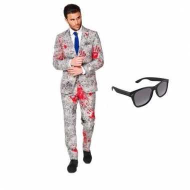 Verkleed zombie net heren kostuum maat (m) gratis zonnebril carnaval