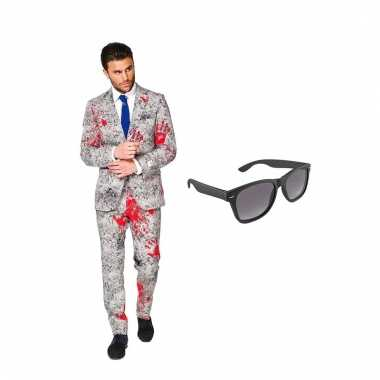 Verkleed zombie net heren kostuum maat (xxxl) gratis zonnebril carna